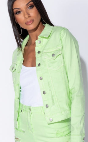 Glamour by DKUK Neon Green Denim Rip Jacket