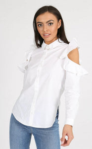 WHITE COLD SHOULDER RUFFLE SHIRT