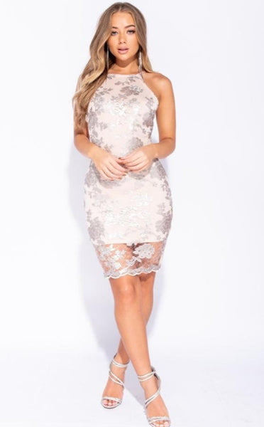 FLORAL SEQUIN FRONT SLEEVELESS BODYCON DRESS - Glamour By LKUK