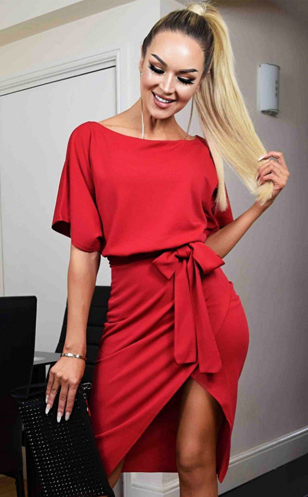 RED WRAP FRONT BATWING DRESS