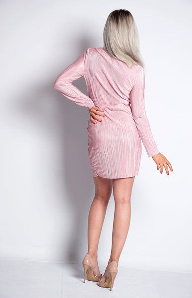 PINK CRINKLE FRONT WRAP DRESS - Glamour By LKUK