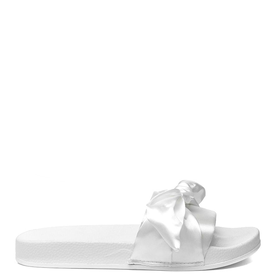 SATIN BOW KNOT PLATFORM SLIDERS-IVORY