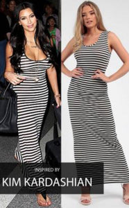 WHITE BLACK STRIPED MAXI DRESS