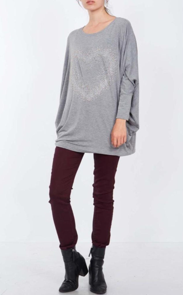 GREY OVERSIZED BLING HEART TOP