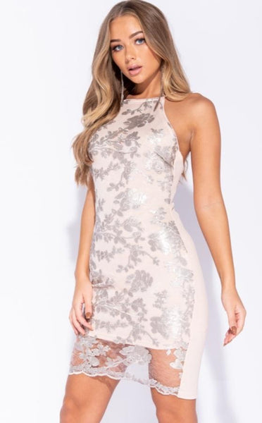 FLORAL SEQUIN FRONT SLEEVELESS BODYCON DRESS