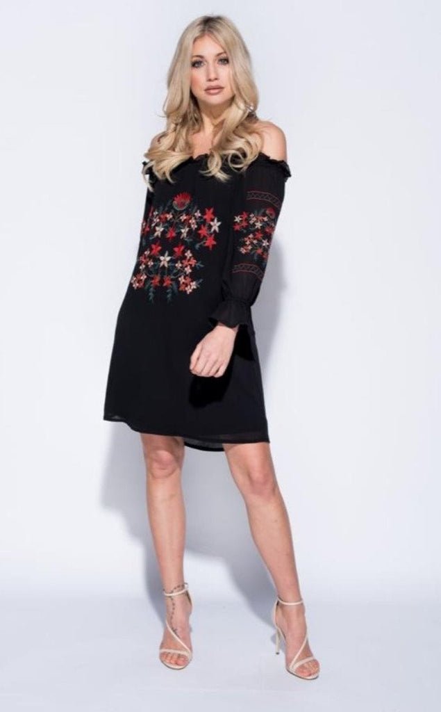 EMBROIDERED FRILL DETAIL BARDOT DRESS