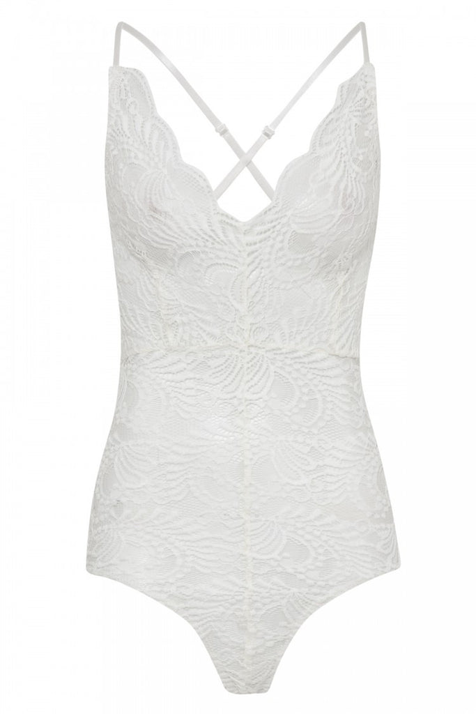 WHITE SCALLOP LACE CROSS BACK STRAPPY BODYSUIT - Glamour By LKUK