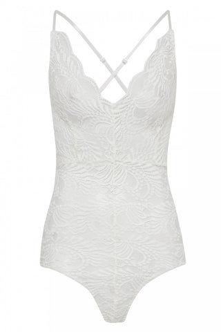 WHITE SCALLOP LACE CROSS BACK STRAPPY BODYSUIT