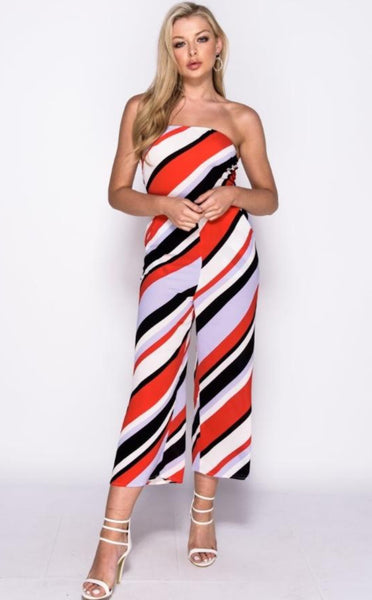 STRIPED BANDEAU JUMPSUIT - Glamour By LKUK