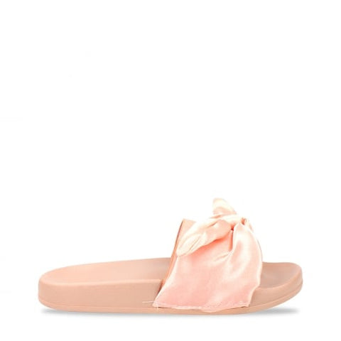 SATIN BOW KNOT PLATFORM SLIDERS-PINK