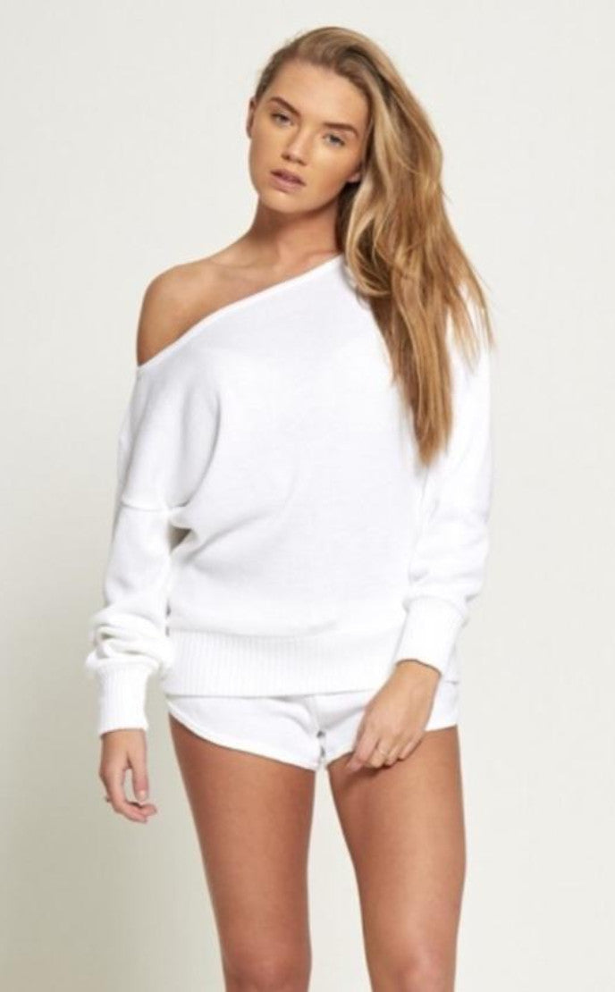 WHITE MARL KNIT 2 PIECE TOP & SHORTS SET