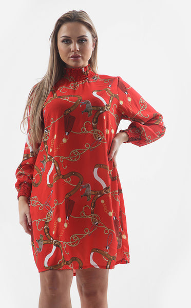 CHAIN PRINT RUCHE DETAILING SMOCK DRESS - Glamour By LKUK