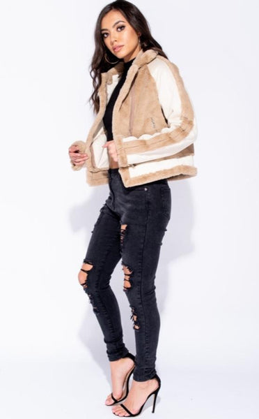 FAUX FUR PU TRIM BIKER JACKET