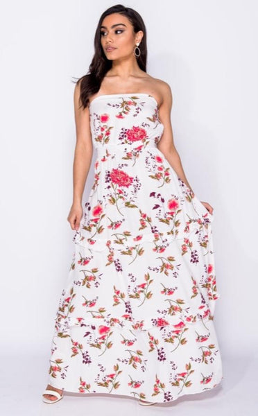 Floral Print Bandeau Maxi Dress - Glamour By LKUK