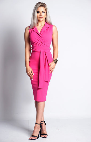 HOT PINK FRONT WRAP COLLARED DRESS