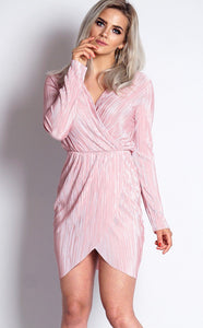 PINK CRINKLE FRONT WRAP DRESS