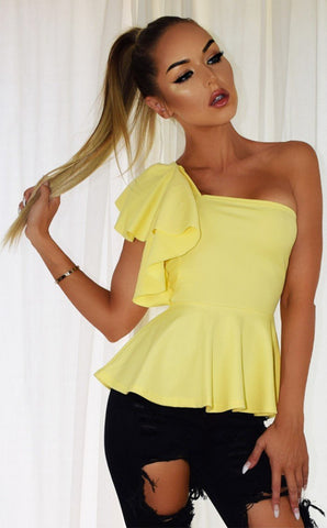 YELLOW PEPLUM FRILL TOP