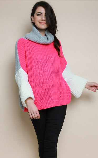 NEON HOT PINK HIGH NECK KNITTED JUMPER - Glamour By LKUK