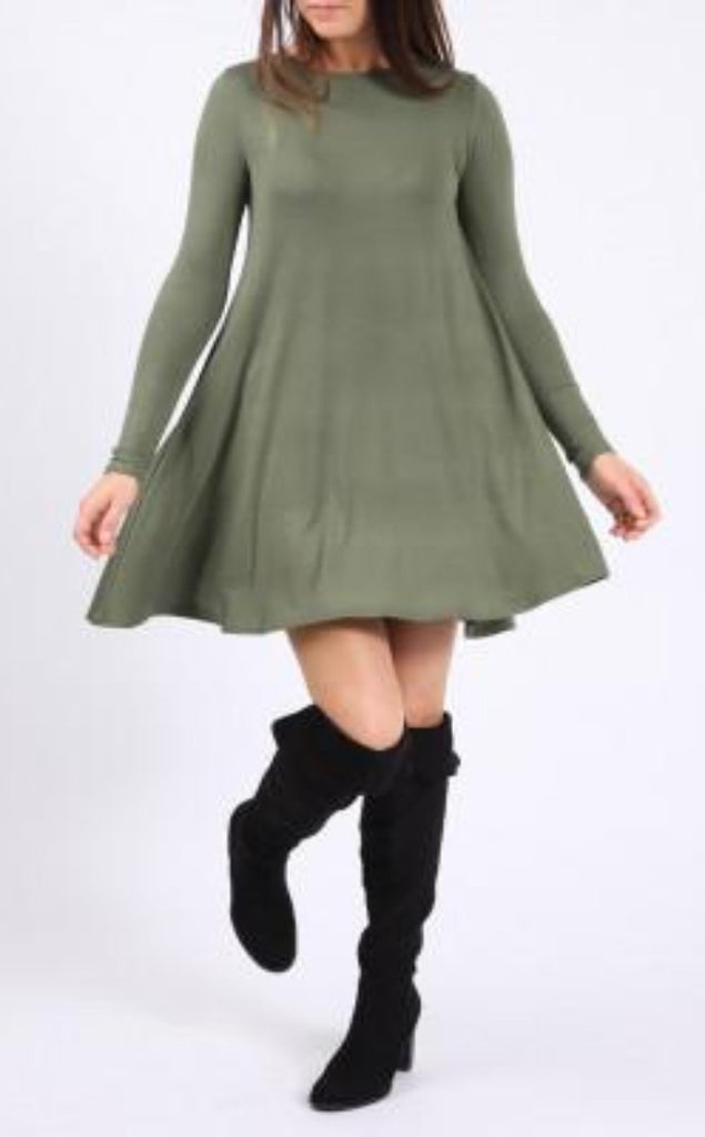 Khaki Swing Dress-Glamour By DKUK Ltd