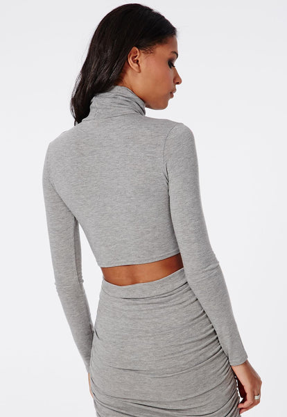 GREY ROLL NECK CROP TOP-Glamour By DKUK Ltd