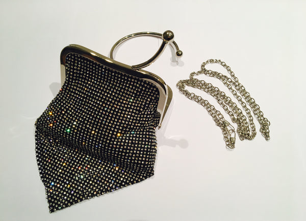 Small Black Diamonté Clutch Bag