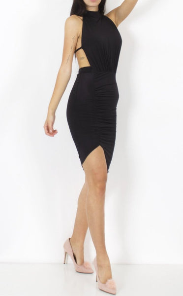 BLACK HALTER NECK ASYMMETRIC TIE BACK DRESS