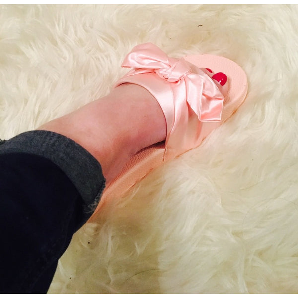 SATIN BOW KNOT PLATFORM SLIDERS-PINK-Glamour By DKUK Ltd
