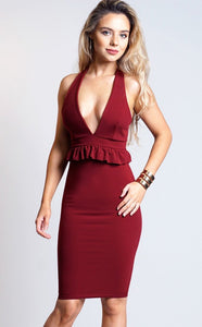 WINE RACER BACK DETAIL MIDI DRESS