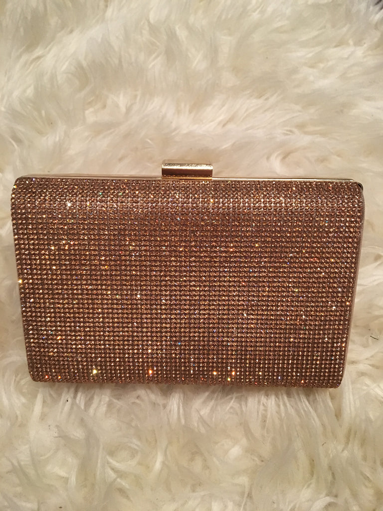 Rose Gold Box Style Clutch Bag