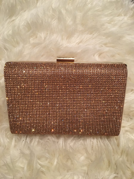 Rose Gold Box Style Clutch Bag - Glamour By LKUK