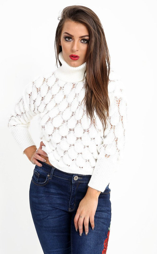 TURTLE NECK KNITTED WHITE JUMPER