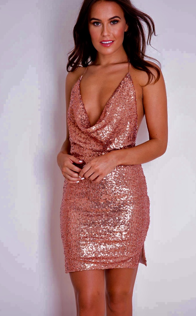 DARK ROSE BACKLESS SEQUIN DRESS
