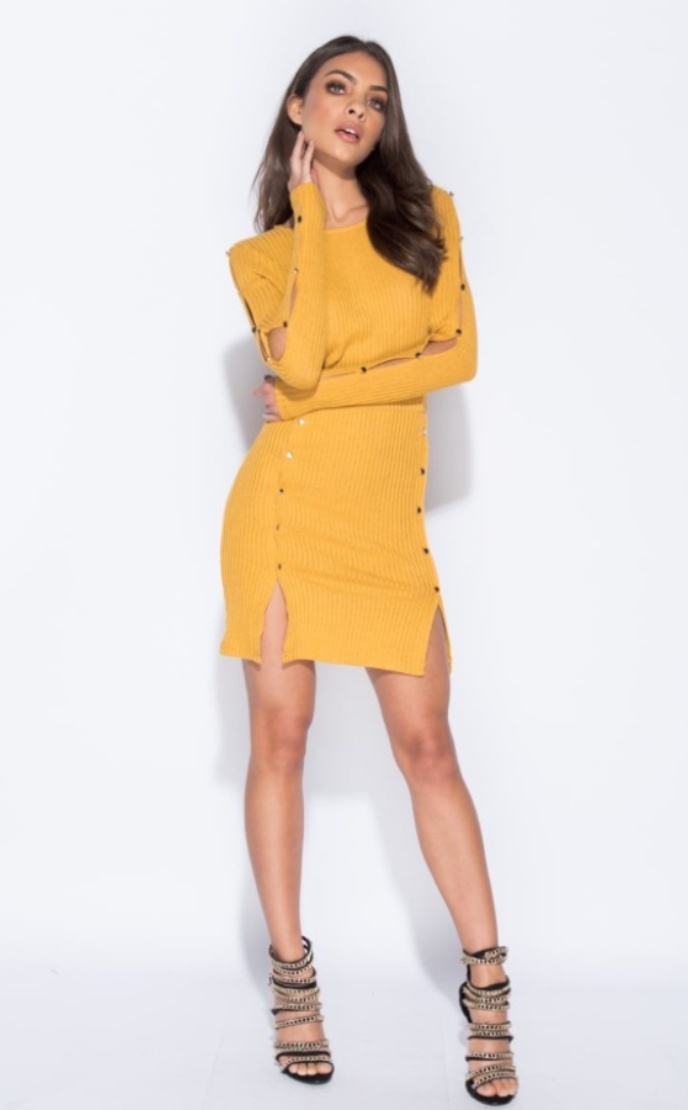 MUSTARD BUTTON DETAIL RIBBED DRESS