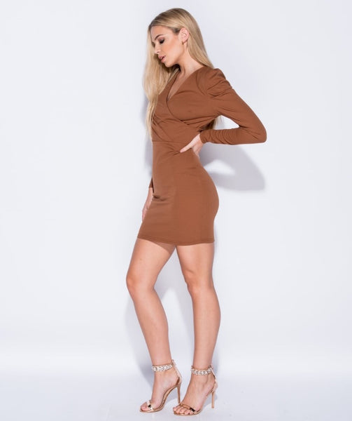 PUFFED SLEEVE WRAPPED FRONT DRESS