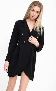 BLACK LONG LINE BLAZER DRESS