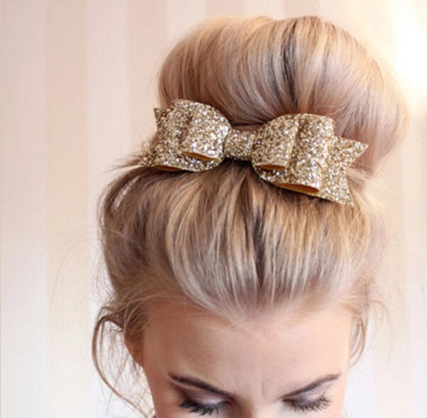 Gold Glitter Bow Hair Clip
