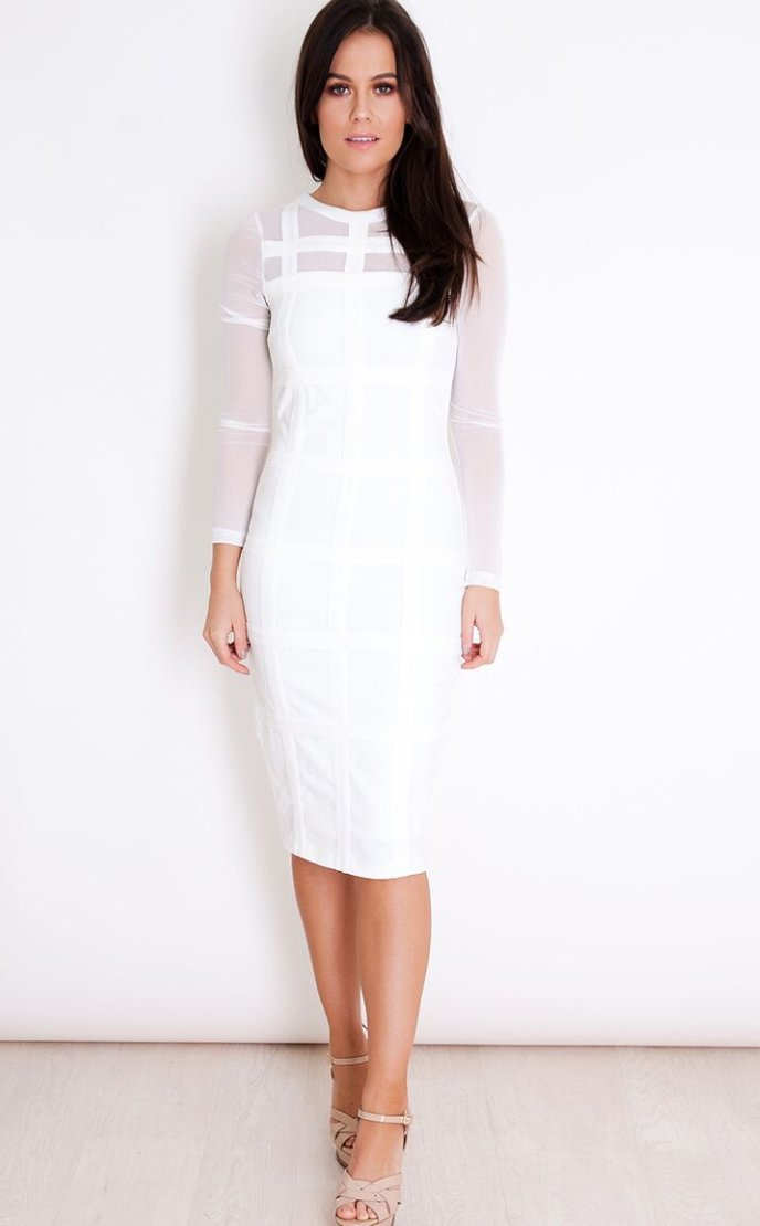 GRID LONG SLEEVE WHITE DRESS