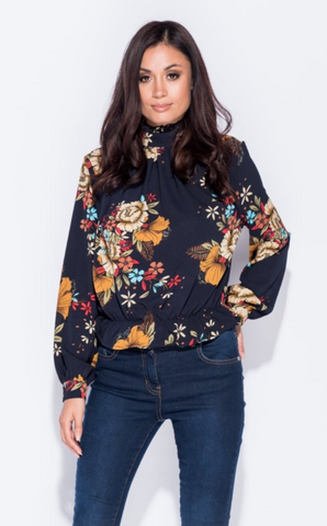 FLORAL PRINT HIGH NECK TOP