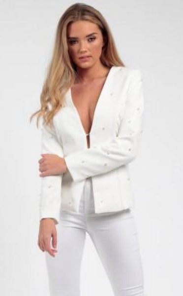 OFF WHITE PEARL TAILORED BLAZER - Glamour By LKUK