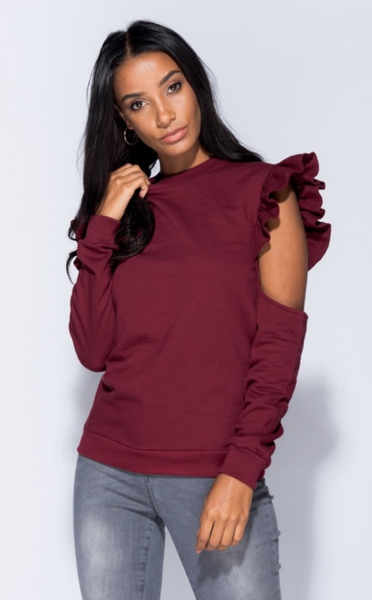 WINE RUFFLE COLD SHOULDER SWEATSHIRT - Glamour By LKUK
