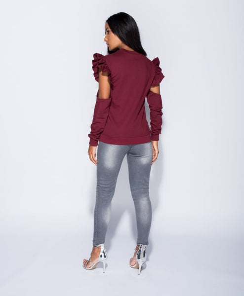 WINE RUFFLE COLD SHOULDER SWEATSHIRT