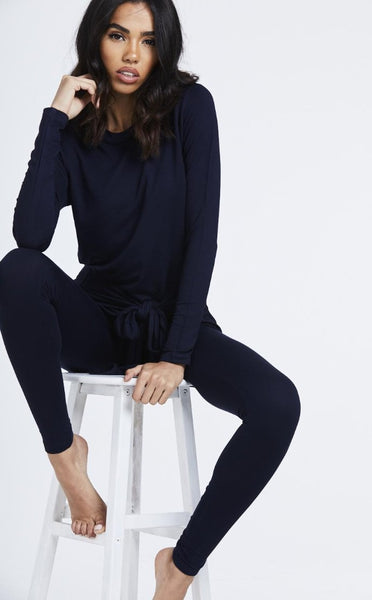 NAVY KNOT FRONT LOUNGEWEAR