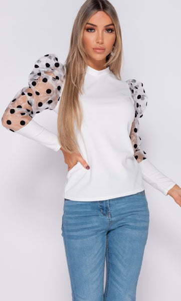 POLKA DOT PUFFED SLEEVE HIGH NECK TOP - Glamour By LKUK