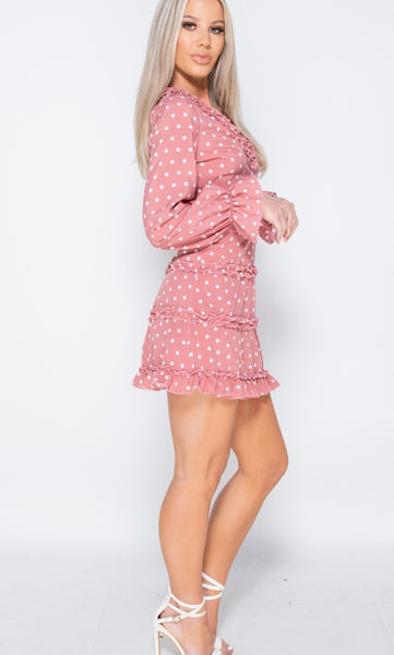 POLKA DOT FRILL TRIM TIERED LONG SLEEVE MINI DRESS - Glamour By LKUK