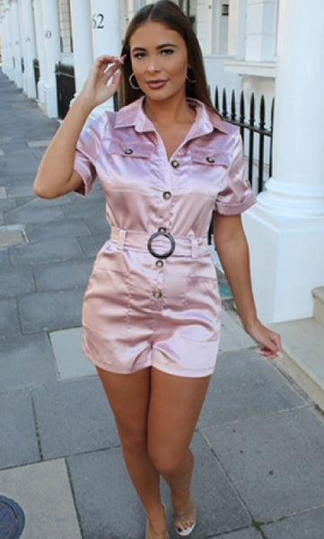 SATIN BUCKLE BELT PATCH POCKET PLAYSUIT - Glamour By LKUK