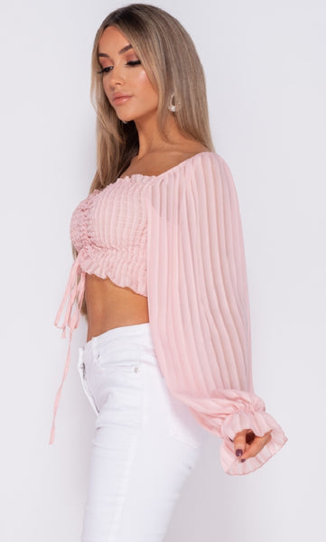 SHIRRING DETAIL TIE FRONT FULL SLEEVE CROP TOP - Glamour By LKUK