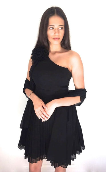 BLACK LAYERED ONE SHOULDER DRESS WITH CHIFFON SASH-Glamour By DKUK Ltd
