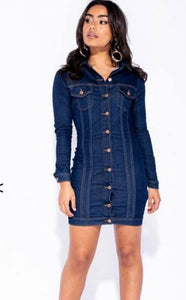 FRONT BUTTON DARK DENIM STRETCH DRESS