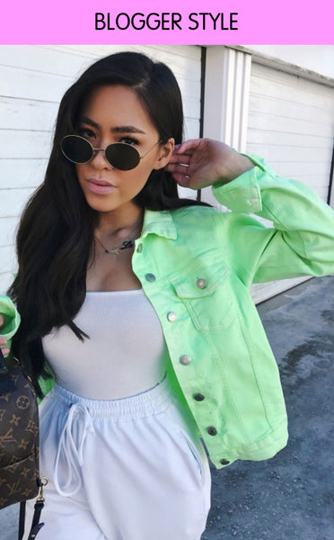 MULTI RIP DENIM JACKET - GREEN