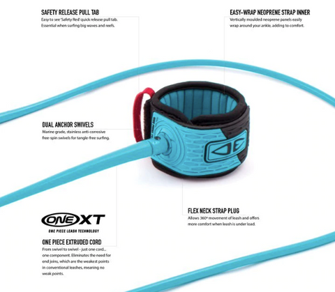 ocean earth one xt premium surfboard leash